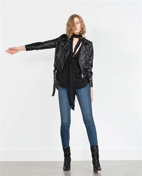 Jual Leather Jacket Zara zara faux leather jacket in black lyst