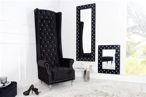 fauteuil bas 3849 ohrensessel chesterfield king size schwarz samt strass