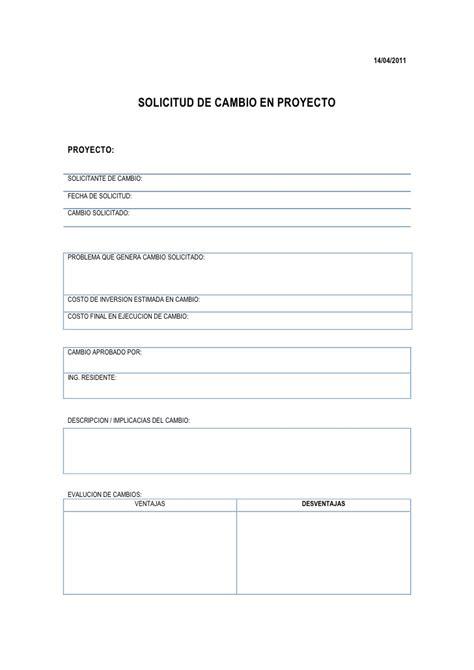 formato de solicitud solicitud de cambios en proyecto