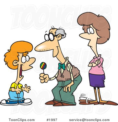 cartoon grandfather giving candy to his grandson 1997 by