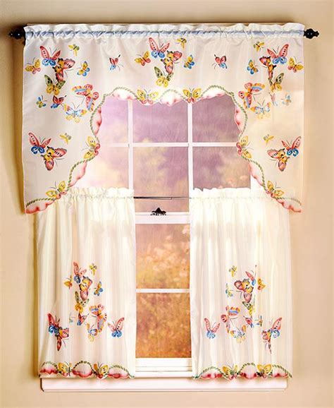 Colorful Kitchen Curtains 3 Colorful Butterfly Kitchen Cocina Curtain Cortina Set 2 Panels 1 Valance Ebay