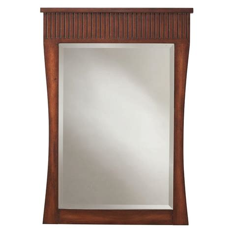 walnut bathroom mirror home decorators collection fuji 34 in l x 24 in w mirror