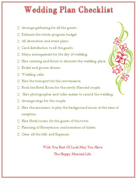 Wedding Planner Email List by Wedding Planning Checklist To Keep Things On Track