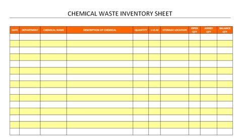 Chemical Inventory Images Frompo Osha Chemical Inventory Template