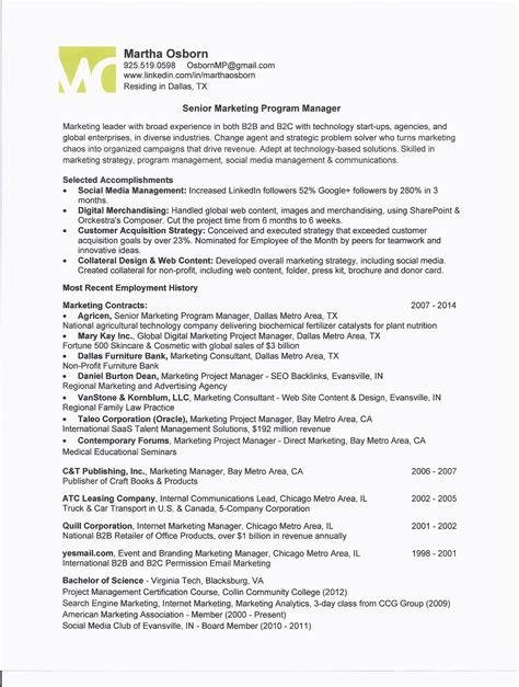 project coordinator resume bio letter format