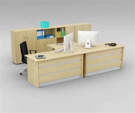 Two Person Office Desk With Matching Cabinets 3d Model Two Person Office Desk