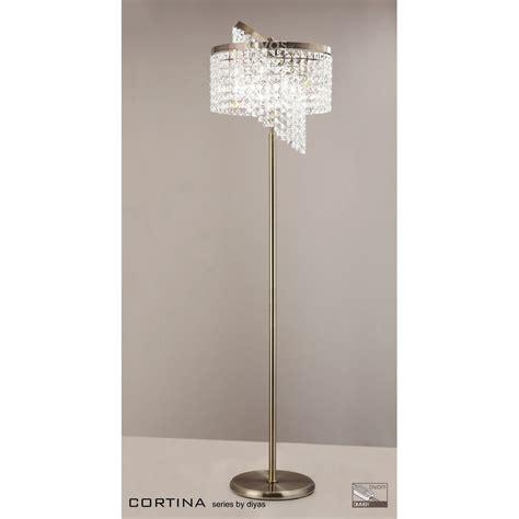 crystal floor l uk cortina floor l 6 light antique brass crystal