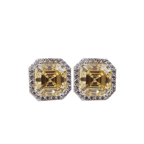 how to make pave jewelry fantasia jewelry pave asscher earrings in metallic lyst