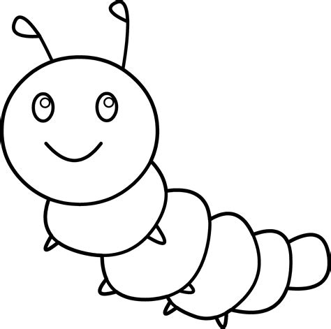 caterpillar outline template happy caterpillar coloring page free clip