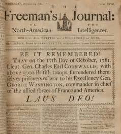 surrender of cornwallis front page of a newspaper