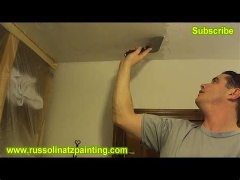 diy ceiling repair skim coat a painted popcorn
