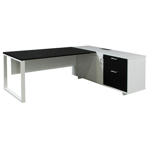 black and white desk l executive right melamine l shape desk black