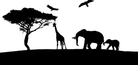 printable jungle animal silhouettes giraffe elephants silhouette printable art clipart png clip