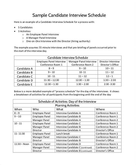 interview agenda examples samples    examples