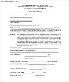 Letter Of Intent Restaurant Lease Sle Letter Of Intent To Lease Cover Letter Templates