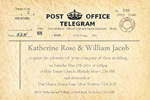 free telegram wedding invitation template personalised wedding invitations 50 vintage telegram wedding invitations large invites