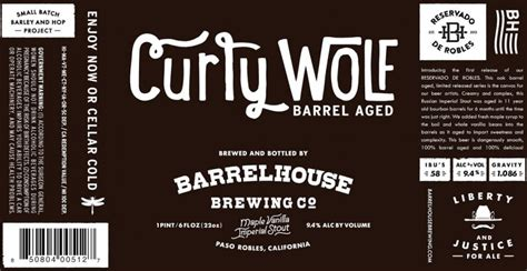 barrel house brewery barrelhouse brewing releases curly wolf maple vanilla bourbon barrel aged imperial