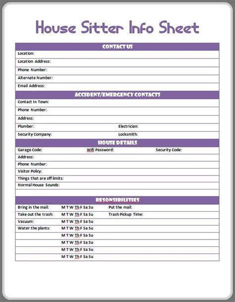 petsitter information template