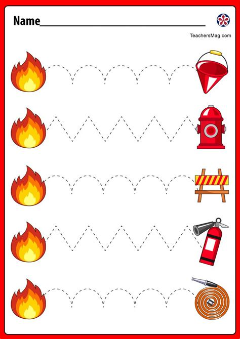 fire safety themed tracing worksheets  pre