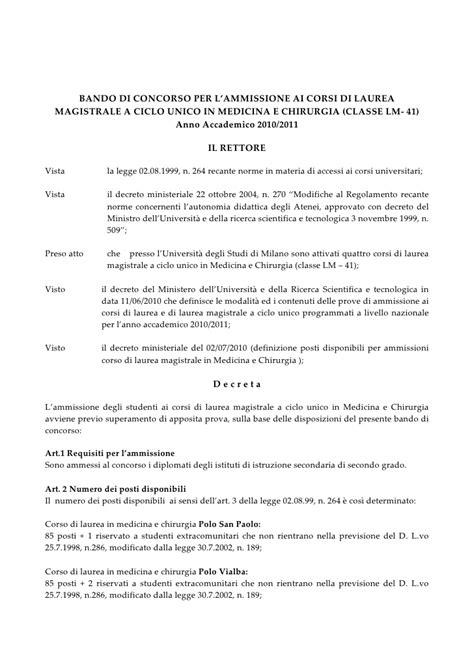 bando test medicina bando di concorso per l ammissione a medicina 2010 2011
