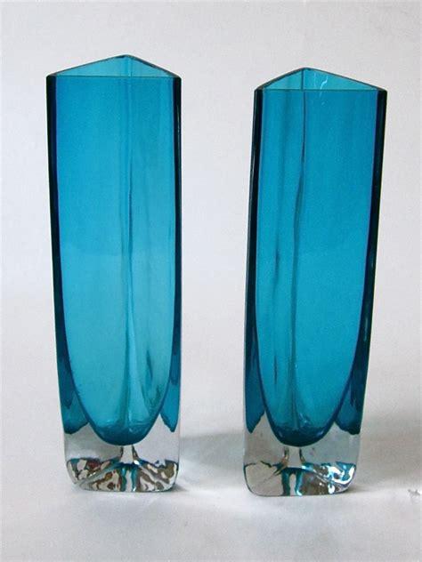 Teal Blue Vases Cased Teal Blue Triangular Vases Id Gunnar Ander