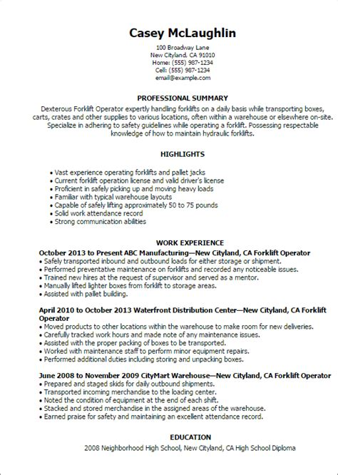 Sample Forklift Operator Resume Professional Forklift Operator Templates To Showcase Your