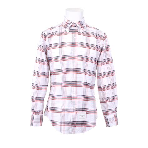 pattern white shirt thom browne cotton shirt with check pattern in white for