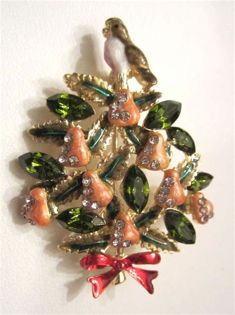 partridge in a pear tree christmas tree brooch pin