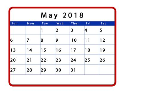 printable monthly calendar for may 2018 templates tools
