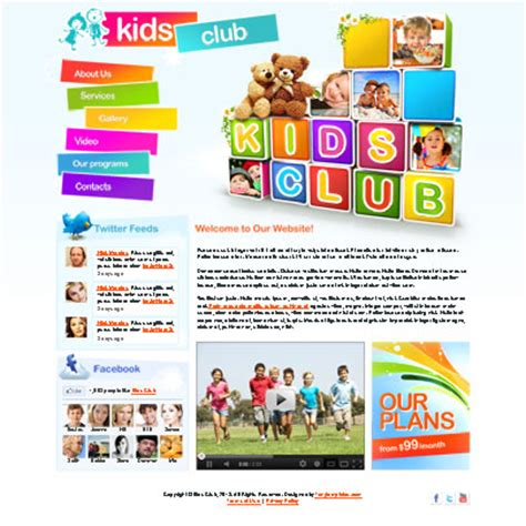 School Club Website Template Kids Club Website Template Kindergartens Private Schools Tonytemplates
