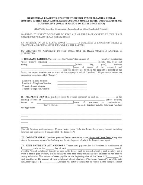 1 year lease agreement ontario free florida residential lease agreement