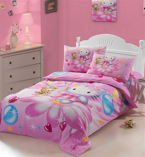 girls full size comforter set character pink hello kitty twin full size girls cotton