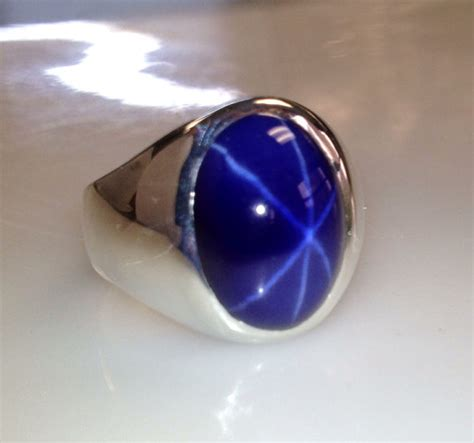 mens custom heavy sterling silver oval blue sapphire ring
