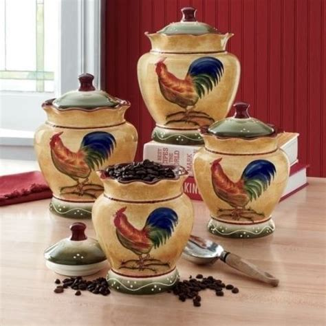 rooster kitchen canisters rooster hand painted kitchen storage canisters set of 4