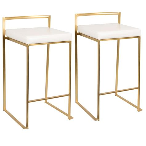 Gold And White Stool by Lumisource Fuji Gold And White Counter Stool Set Of 2
