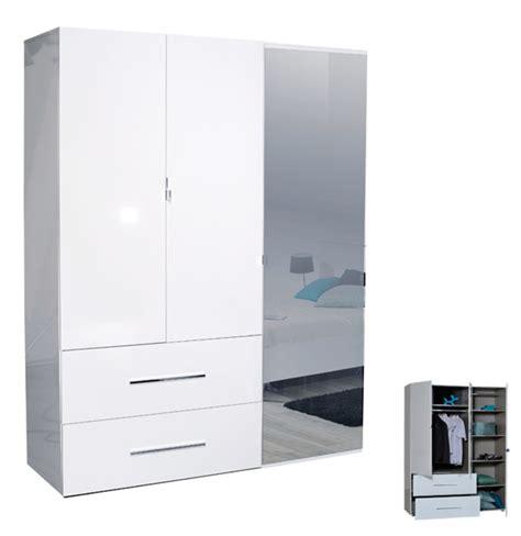 armoire tiroir armoire 3 portes 2 tiroirs blanche blanc brillant