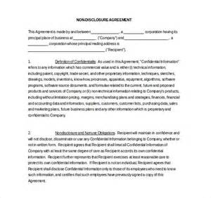 non disclosure template 18 word non disclosure agreement templates free