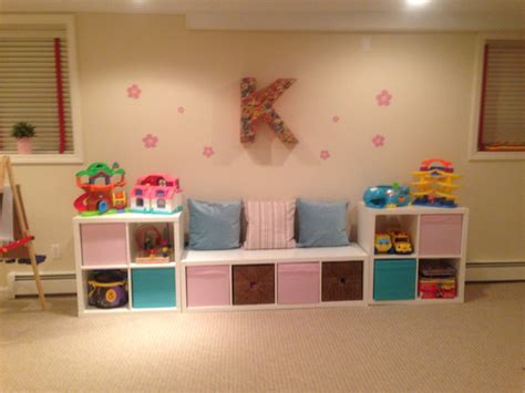 seating and storage with the ikea kallax shelves for playroom design playroom ideas