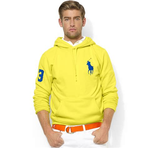 Bfs Sweater Hoodie Polos lyst ralph polo big pony fleece pullover hoodie in yellow for