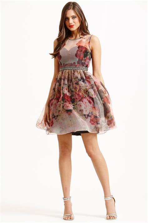 Flower Flare Drezz floral organza fit and flare dress from uk