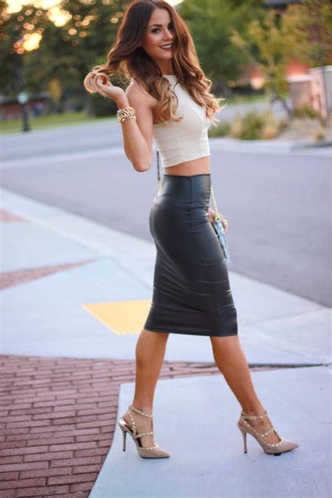 black leather pencil skirt dress designs