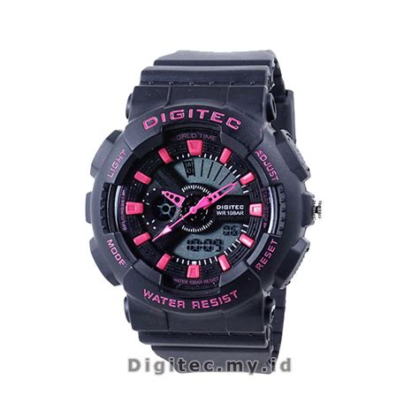 Jam Tangan Wanita Digitec Original Dual Time Black Green Tahan Air digitec dg 2063t black pink jam tangan sport anti air murah