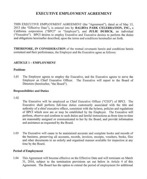 8 Standard Employment Agreement Sles Sle Templates Executive Employment Contract Template