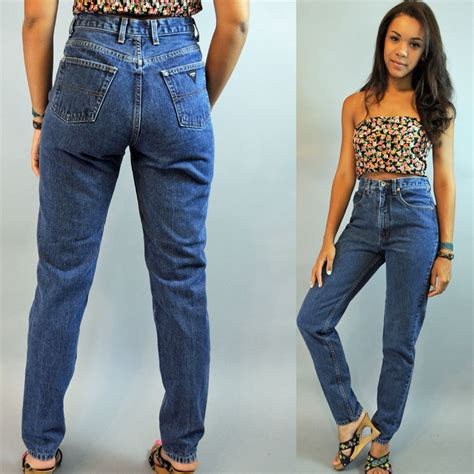 White Hipsterhighwaist Size 31 34 80s high waisted womens vintage guess distressed