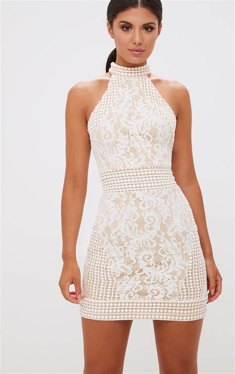 Back Kn71167 Kalung Choker Natal Lace Flower white high neck lace crochet bodycon dress dresses prettylittlething