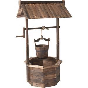 stonegate designs wooden wishing well planter burnt