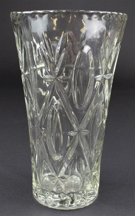 Clear Vases Clear Pressed Glass Flower Vase 9 625 Quot