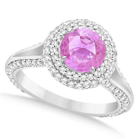 halo pink sapphire engagement ring 14k white