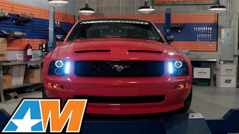 mustang hid lights 2005 2009 mustang black projector headlights led halo