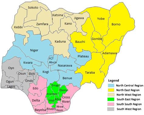 map of nigeria with states south west states in nigeria naija ng